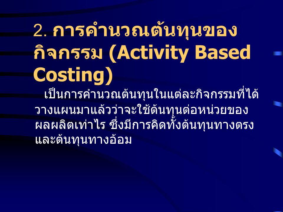2. การคำนวณต้นทุนของกิจกรรม (Activity Based Costing)