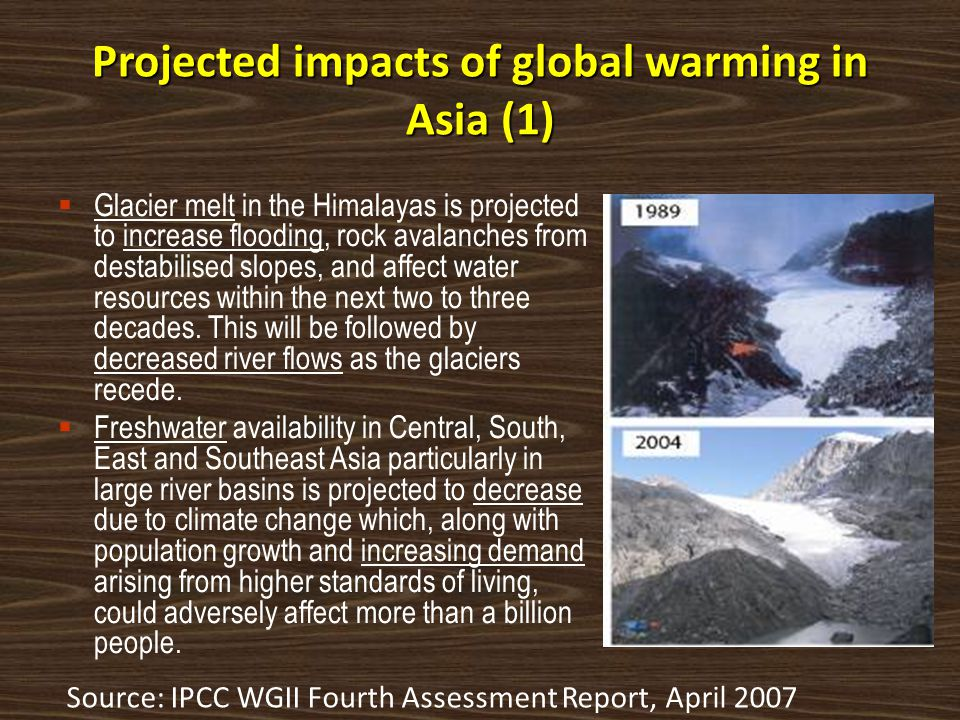 Projected impacts of global warming in Asia (1)