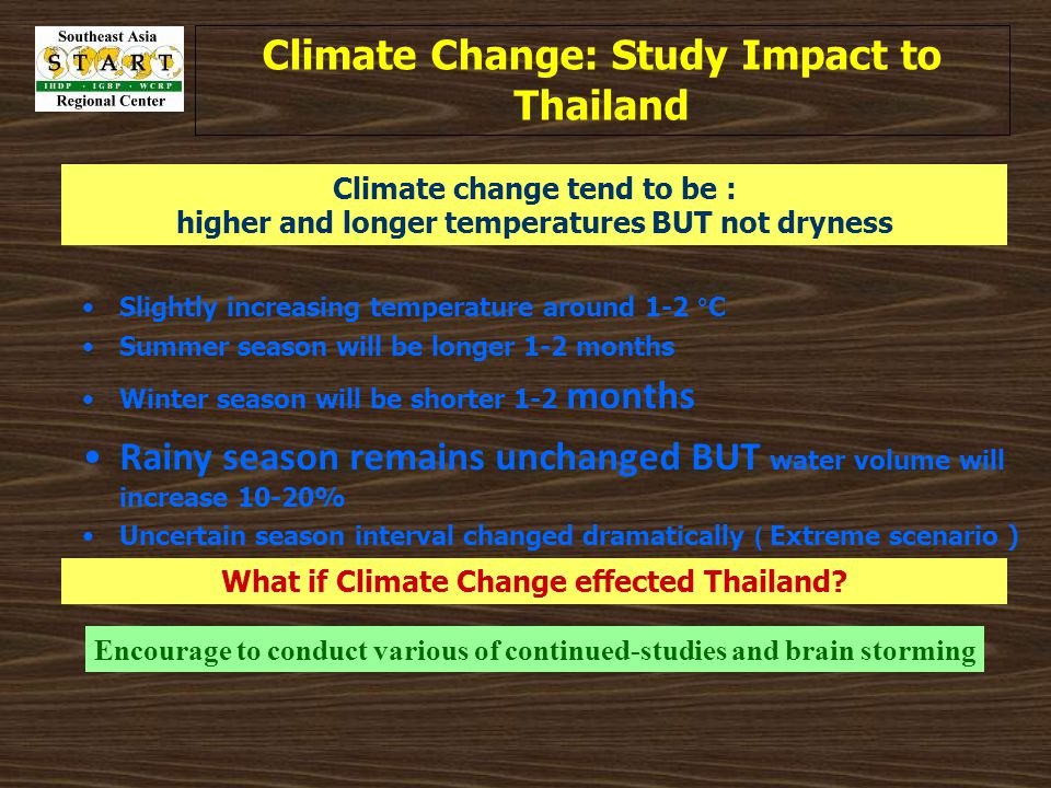 Climate Change: Study Impact to Thailand