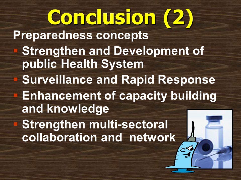 Conclusion (2) Preparedness concepts