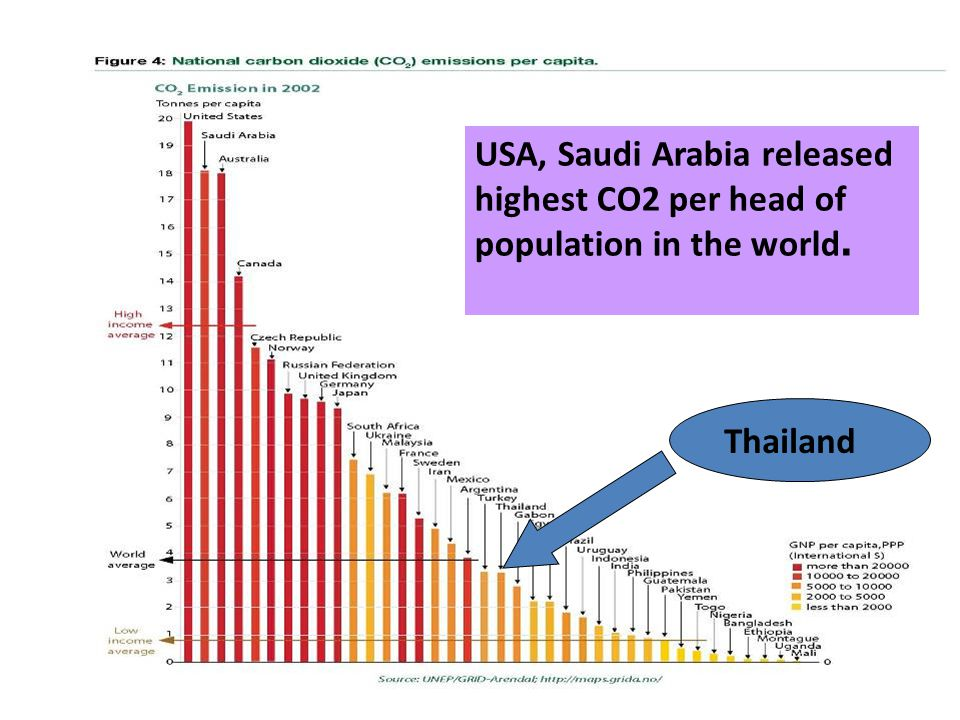 USA, Saudi Arabia released highest CO2 per head of population in the world.