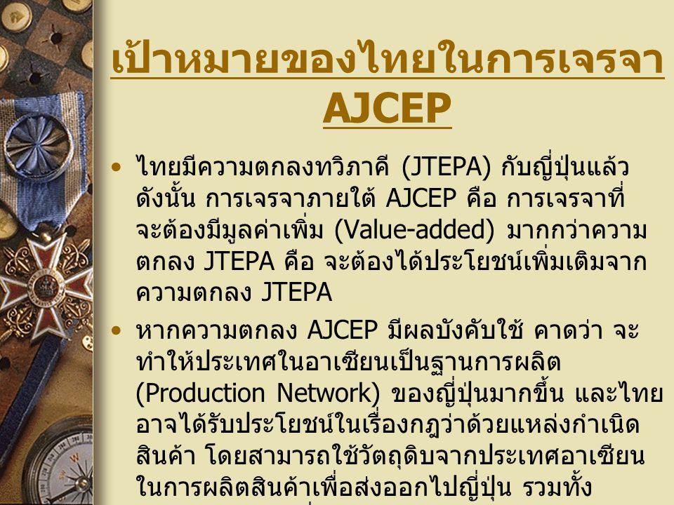 เป้าหมายของไทยในการเจรจา AJCEP