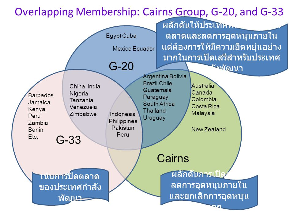 Overlapping Membership: Cairns Group, G-20, and G-33