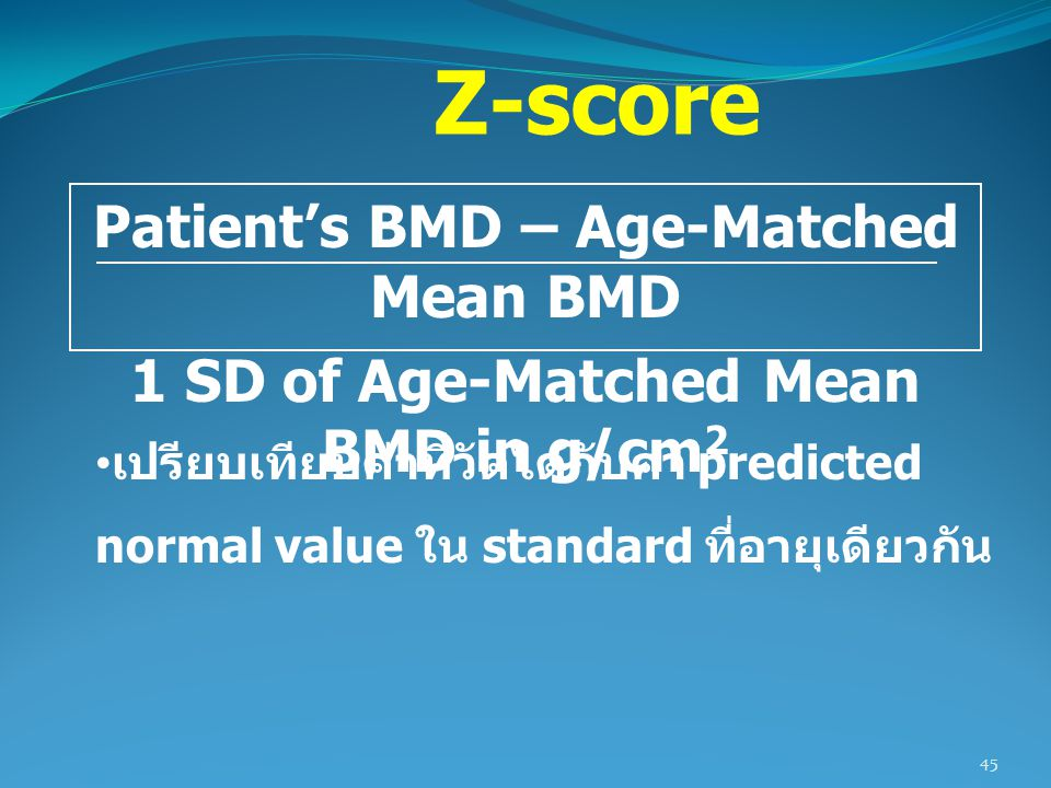Z-score Patient's BMD – Age-Matched Mean BMD