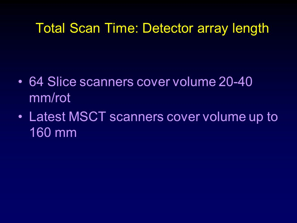 Total Scan Time: Detector array length