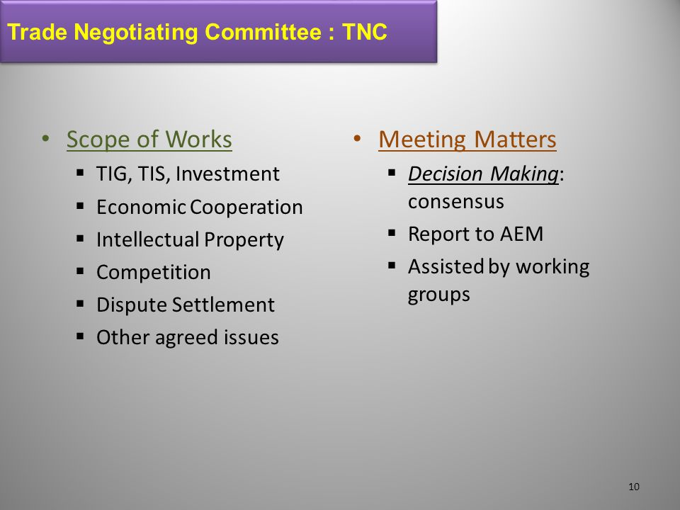 Scope of Works Meeting Matters Trade Negotiating Committee : TNC