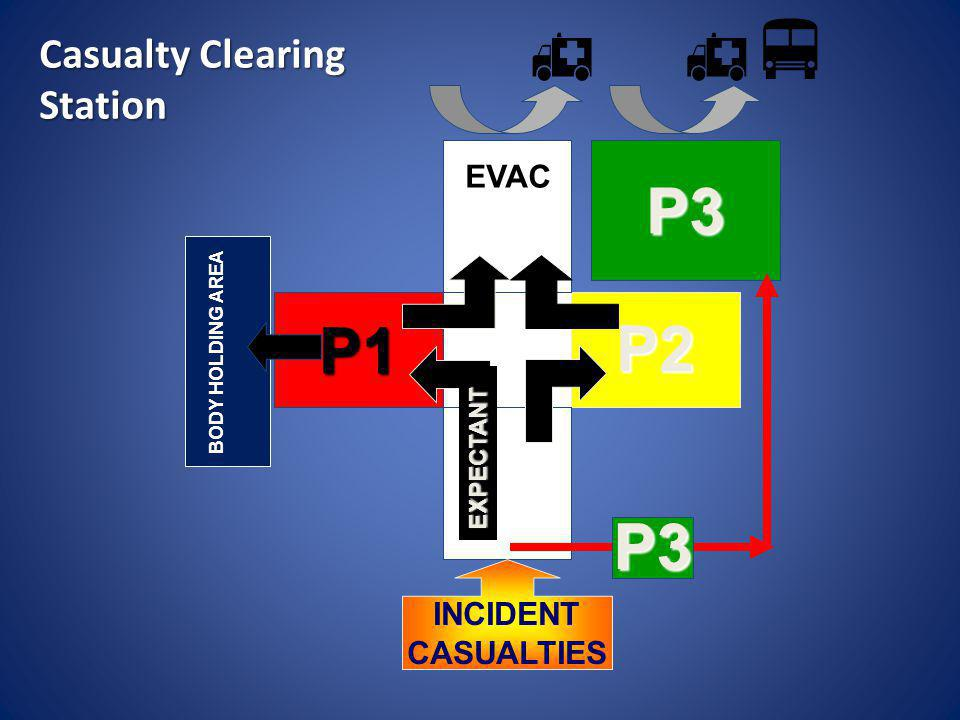    P3 P1 P2 P3 Casualty Clearing Station EVAC TRIAGE INCIDENT