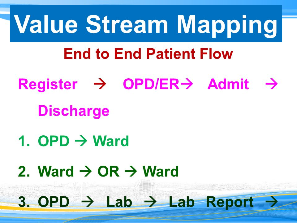 Value Stream Mapping End to End Patient Flow