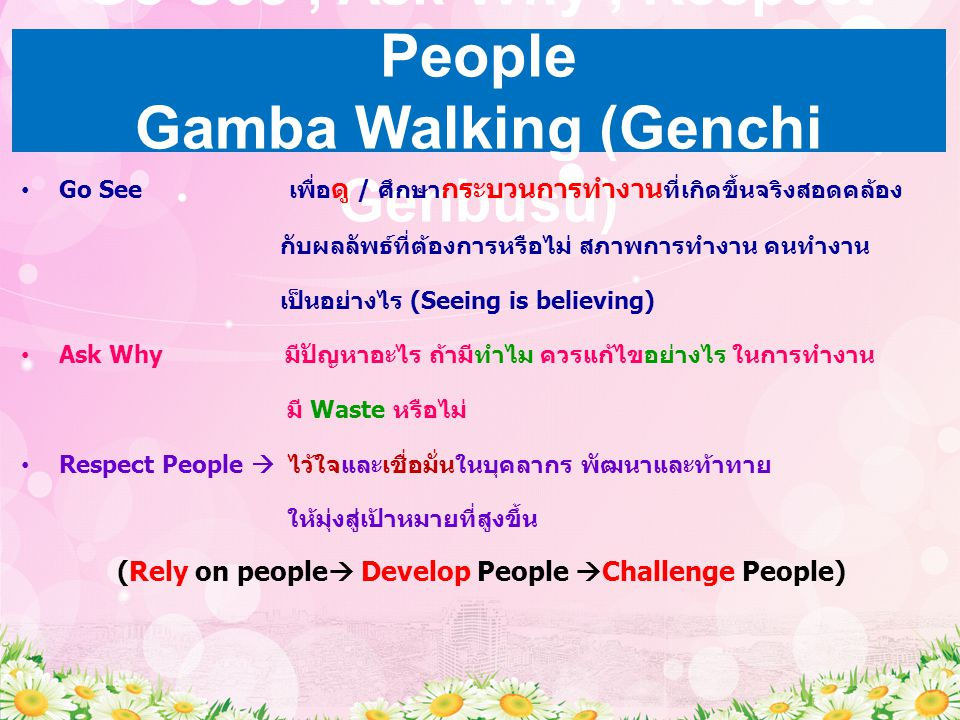 Go See , Ask Why , Respect People Gamba Walking (Genchi Genbusu)