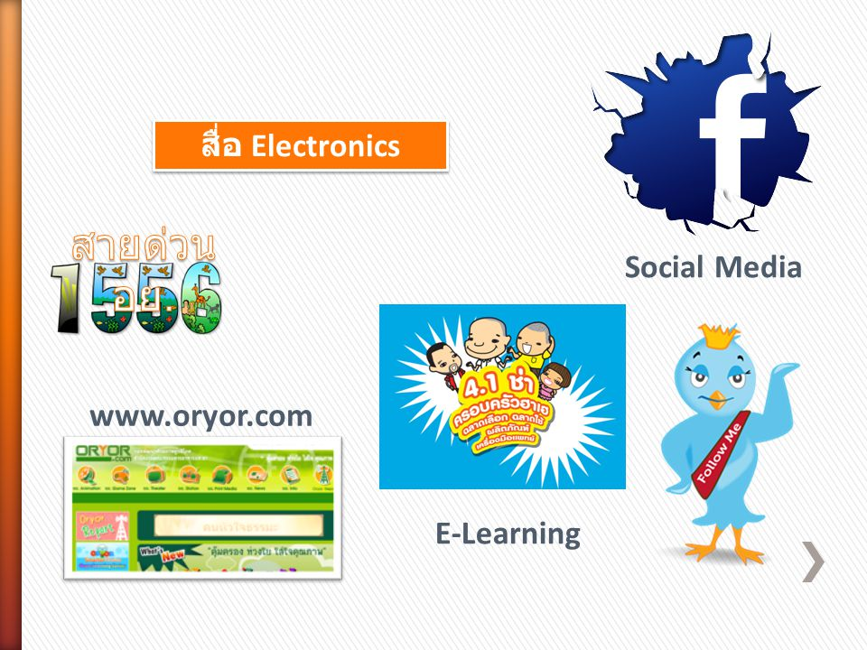 สื่อ Electronics สายด่วน อย. Social Media www.oryor.com E-Learning