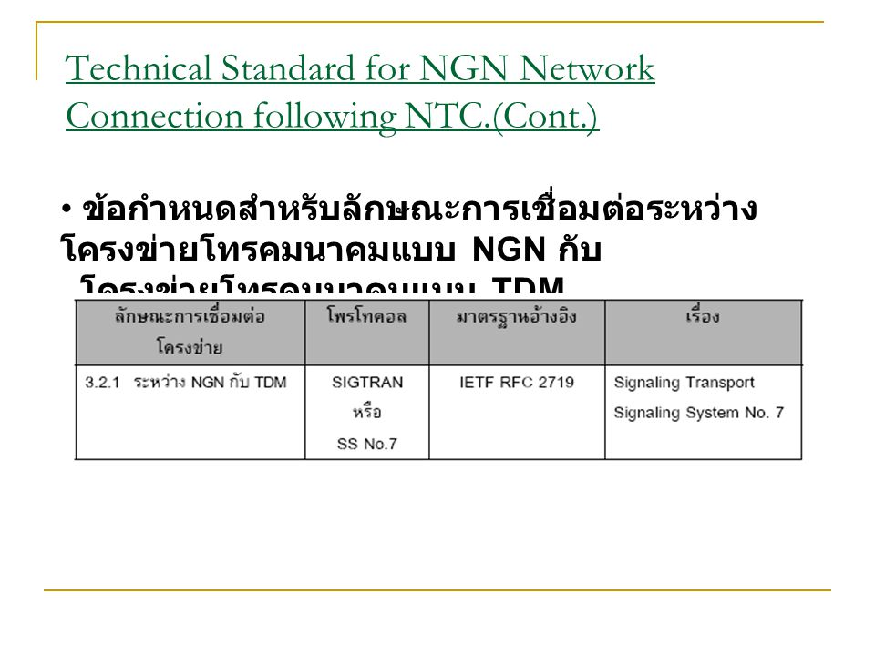Technical Standard for NGN Network Connection following NTC.(Cont.)