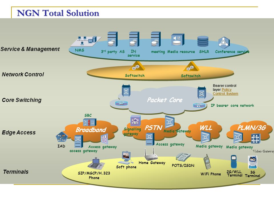 NGN Total Solution Packet Core PSTN WLL PLMN/3G Broadband