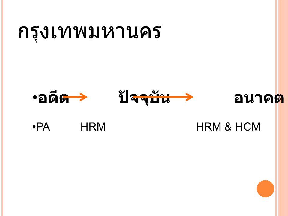 กรุงเทพมหานคร อดีต ปัจจุบัน อนาคต PA HRM HRM & HCM