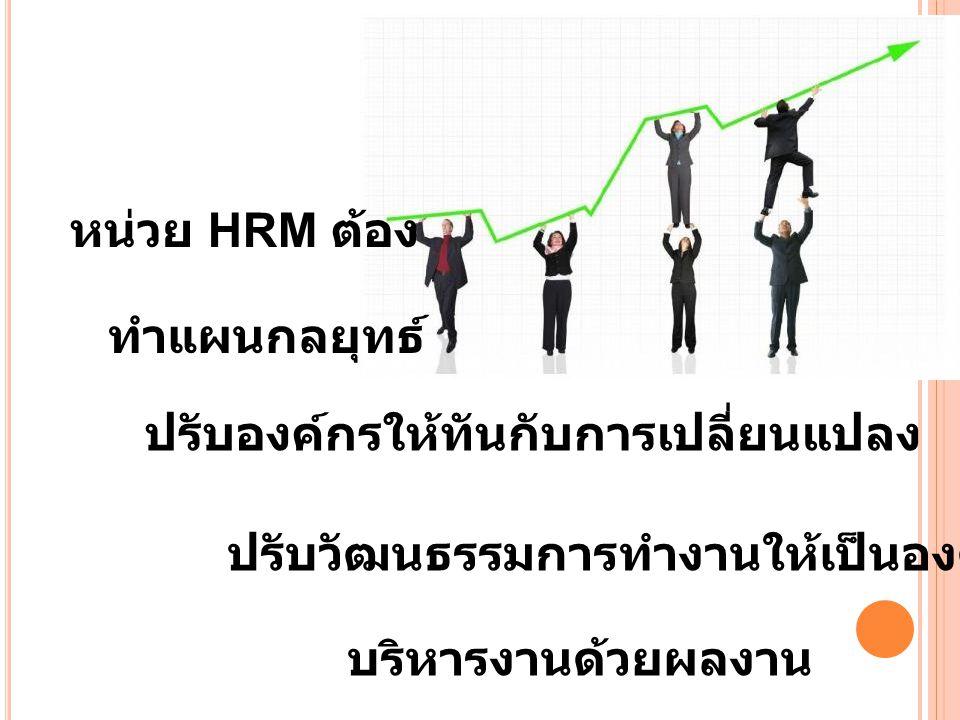 หน่วย HRM ต้อง ทำแผนกลยุทธ์ ปรับองค์กรให้ทันกับการเปลี่ยนแปลง. ปรับวัฒนธรรมการทำงานให้เป็นองค์กรเรียนรู้