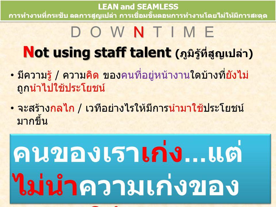 Not using staff talent (ภูมิรู้ที่สูญเปล่า)