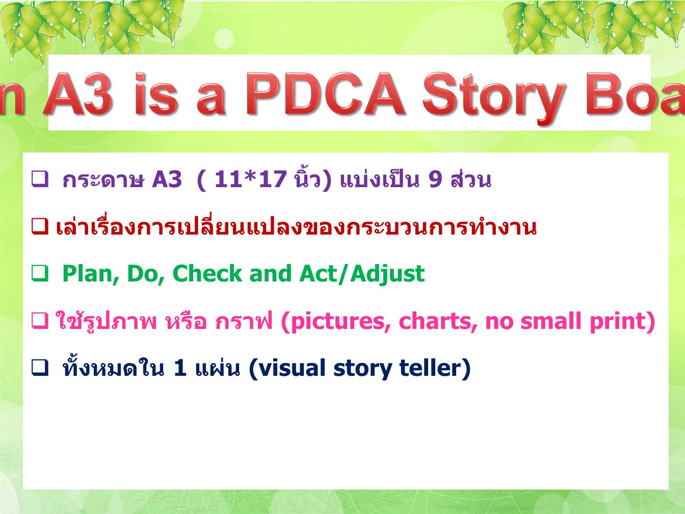 An A3 is a PDCA Story Board