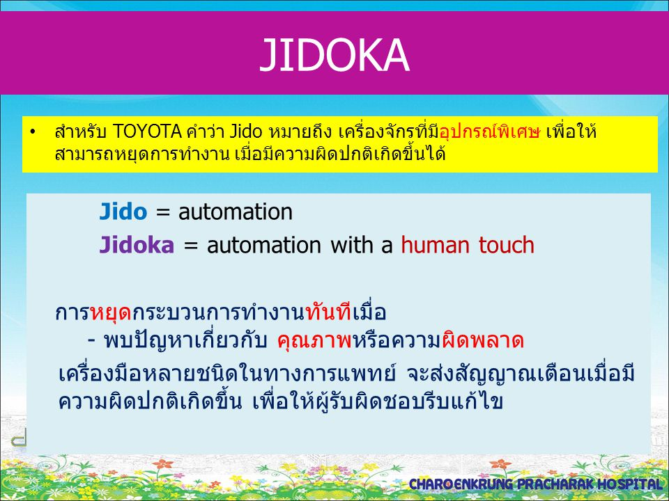 JIDOKA Jido = automation Jidoka = automation with a human touch