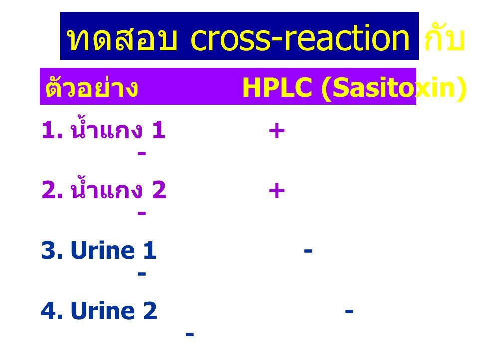 ทดสอบ cross-reaction กับ sasitoxin