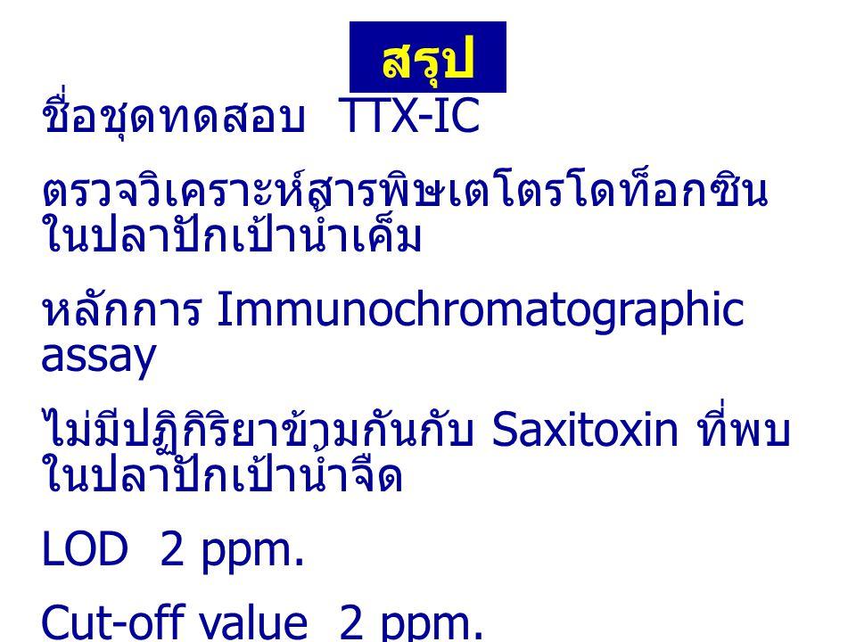 สรุป ชื่อชุดทดสอบ TTX-IC