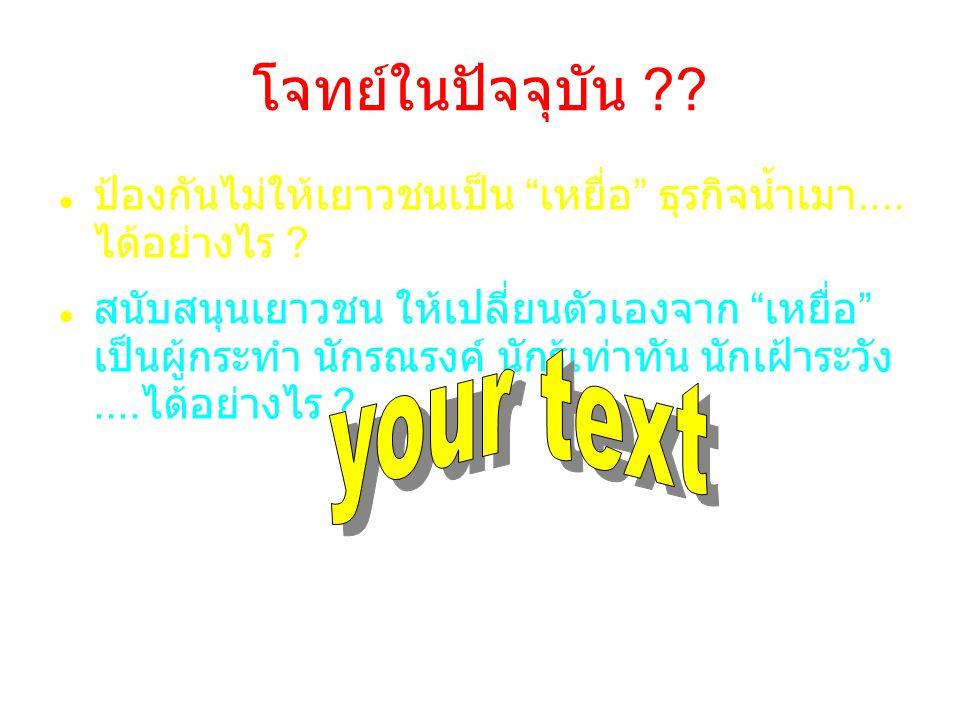 โจทย์ในปัจจุบัน your text
