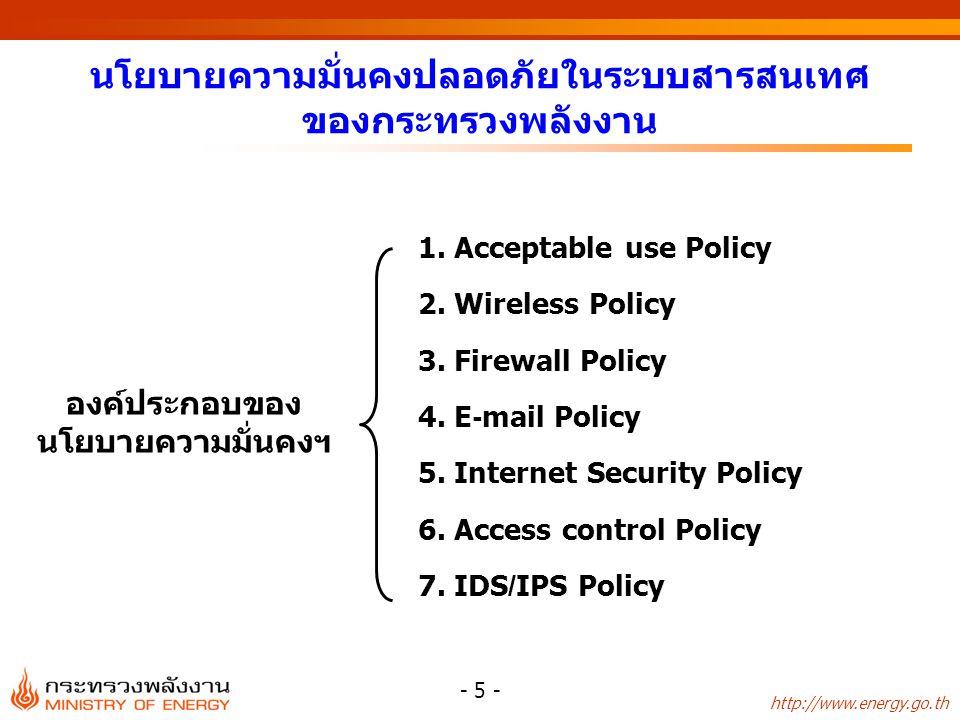 นโยบายความมั่นคงปลอดภัยในระบบสารสนเทศ ของกระทรวงพลังงาน