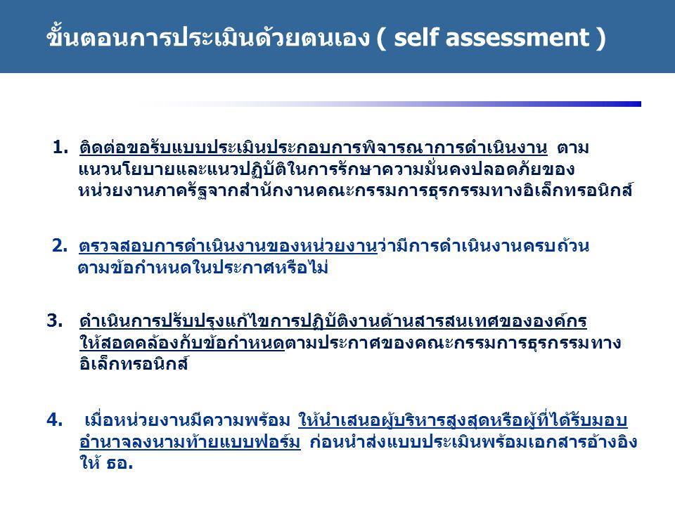 ขั้นตอนการประเมินด้วยตนเอง ( self assessment )