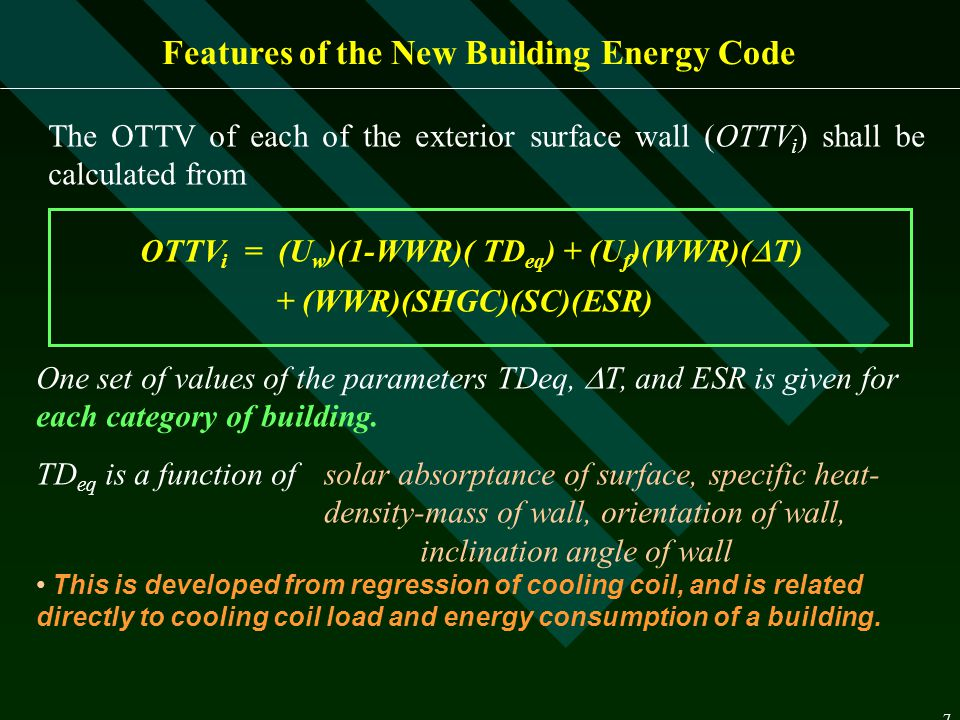 Features of the New Building Energy Code