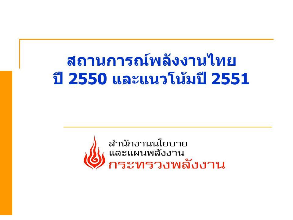 สถานการณ์พลังงานไทย ปี 2550 และแนวโน้มปี 2551