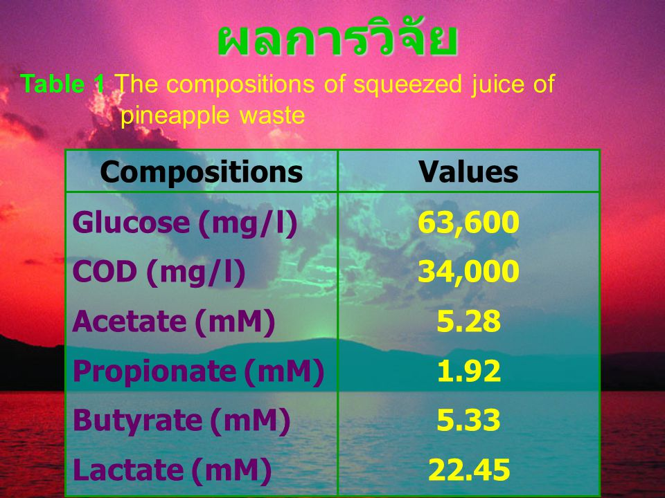 ผลการวิจัย Compositions Values Glucose (mg/l) COD (mg/l) Acetate (mM)