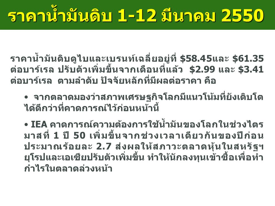 ราคาน้ำมันดิบ 1-12 มีนาคม 2550