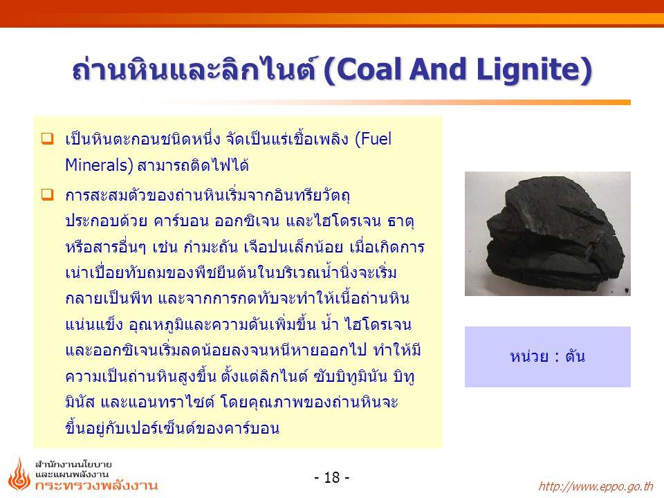 ถ่านหินและลิกไนต์ (Coal And Lignite)