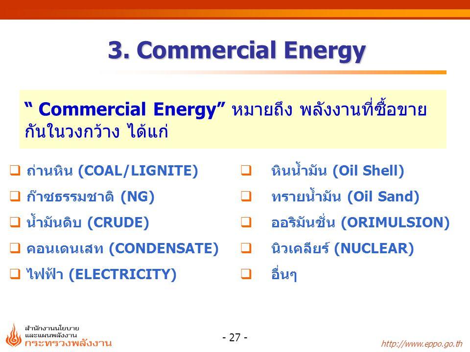 Commercial Energy หมายถึง พลังงานที่ซื้อขายกันในวงกว้าง ได้แก่