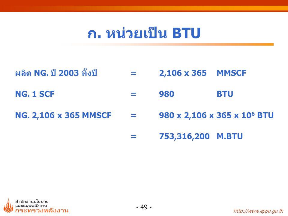 ก. หน่วยเป็น BTU ผลิต NG. ปี 2003 ทั้งปี = 2,106 x 365 MMSCF