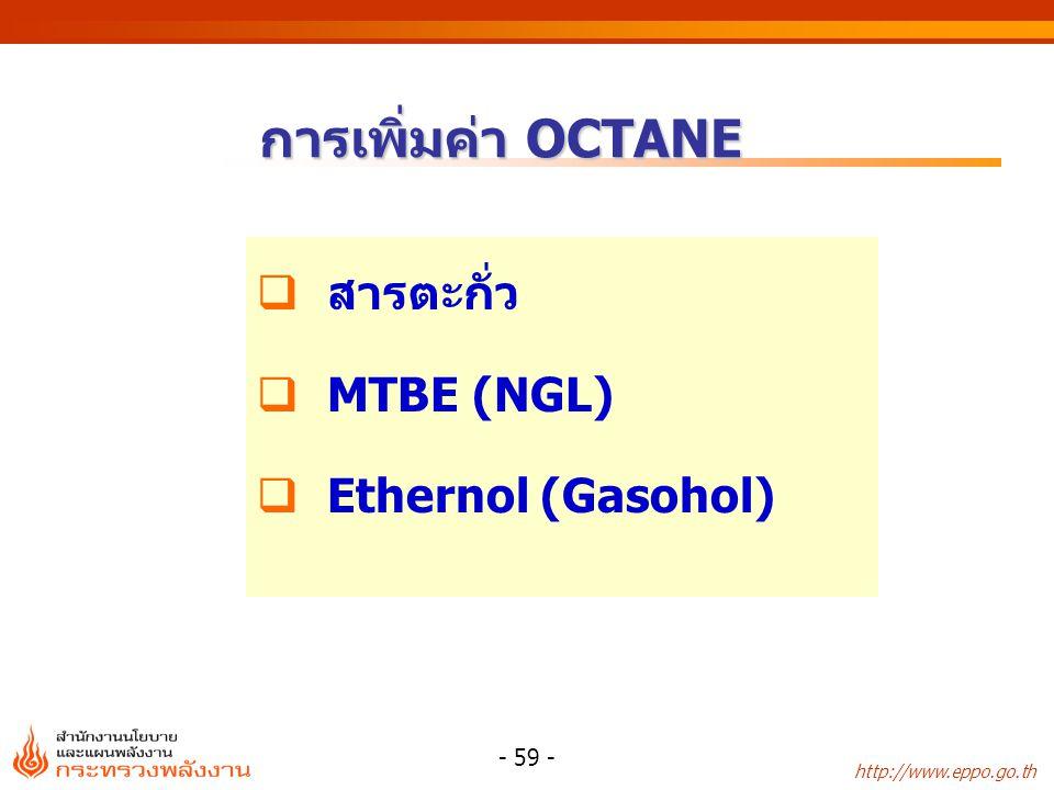 การเพิ่มค่า OCTANE สารตะกั่ว MTBE (NGL) Ethernol (Gasohol)