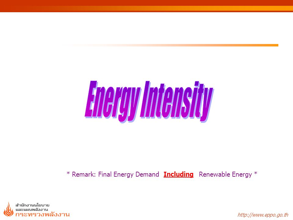 Energy Intensity * Remark: Final Energy Demand Including Renewable Energy *