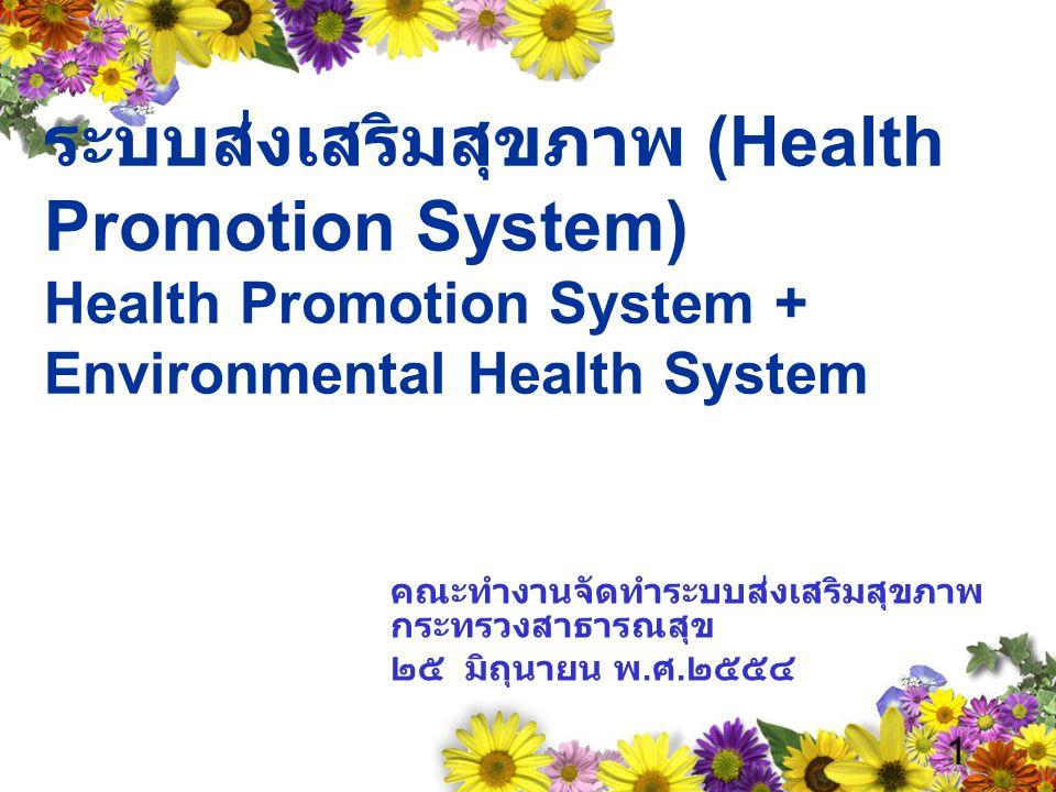 ระบบส่งเสริมสุขภาพ (Health Promotion System) Health Promotion System + Environmental Health System