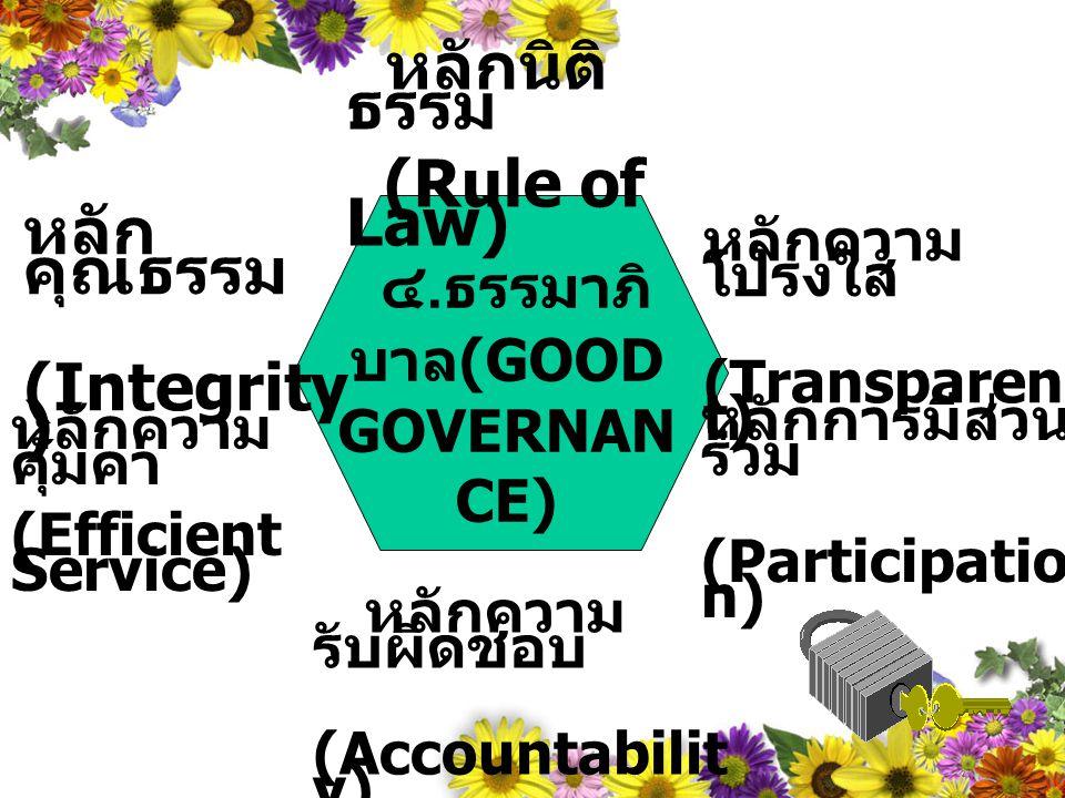 ๔.ธรรมาภิบาล(GOOD GOVERNANCE)