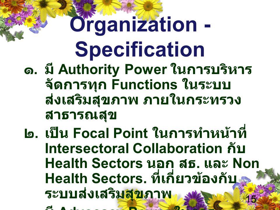 Organization - Specification