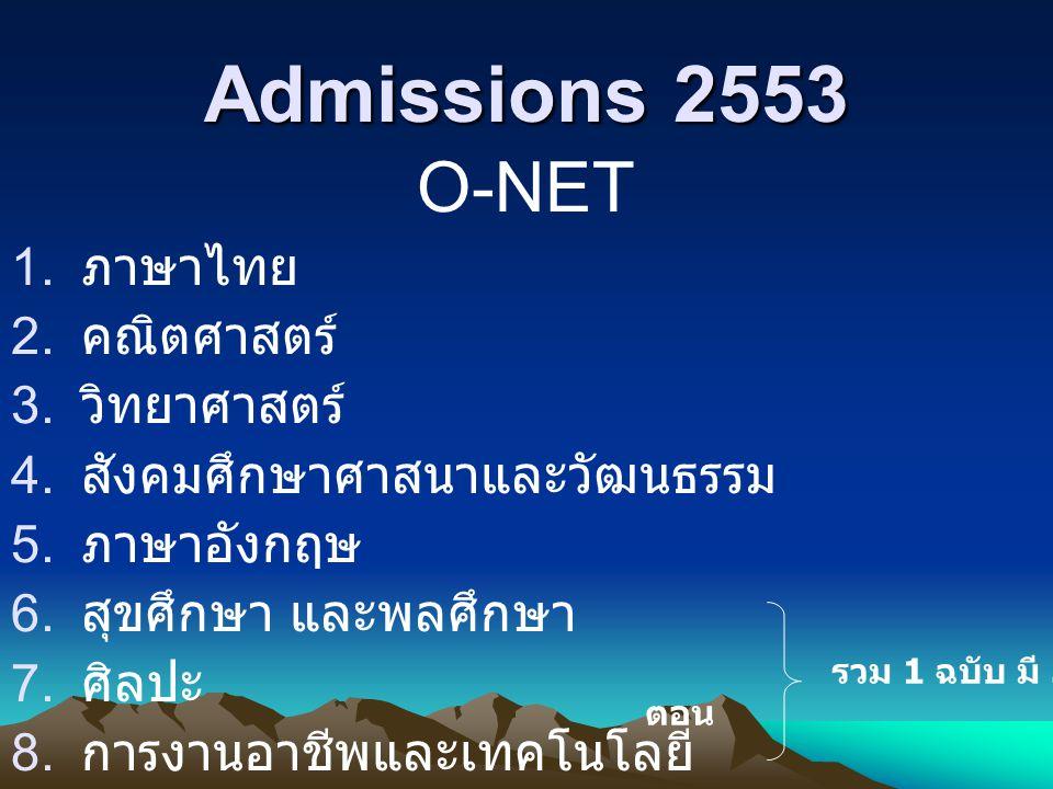 Admissions 2553 O-NET ภาษาไทย คณิตศาสตร์ วิทยาศาสตร์
