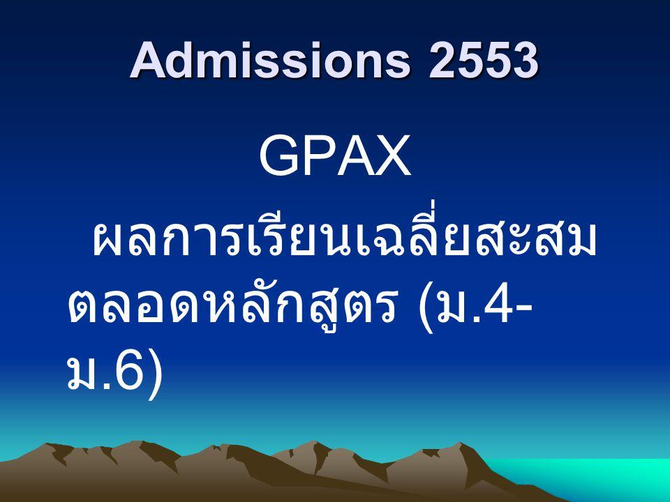 Admissions 2553 GPAX ผลการเรียนเฉลี่ยสะสมตลอดหลักสูตร (ม.4- ม.6)