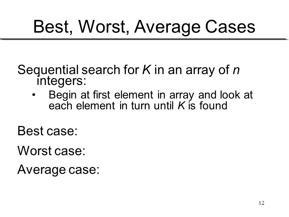 Best, Worst, Average Cases