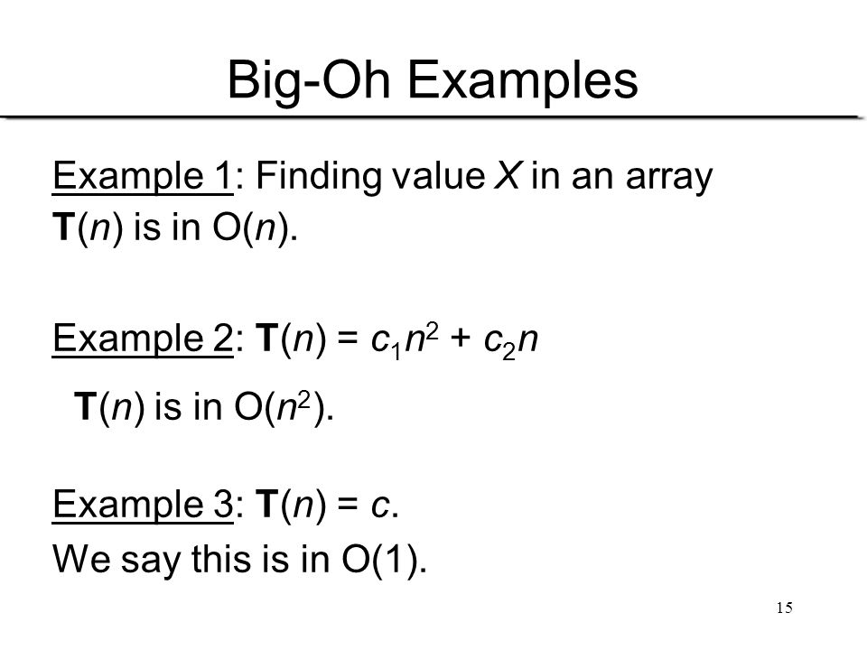 Big-Oh Examples Example 1: Finding value X in an array