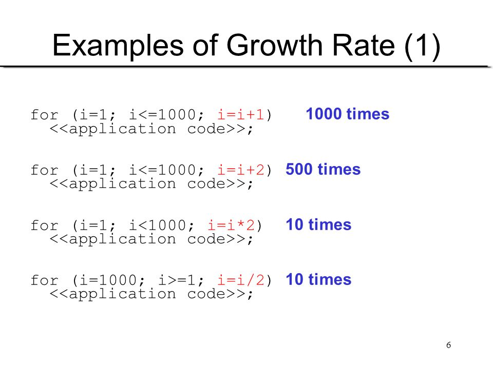 Examples of Growth Rate (1)
