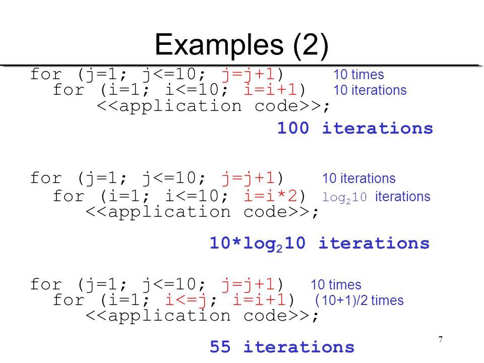 Examples (2) for (j=1; j<=10; j=j+1) 10 times