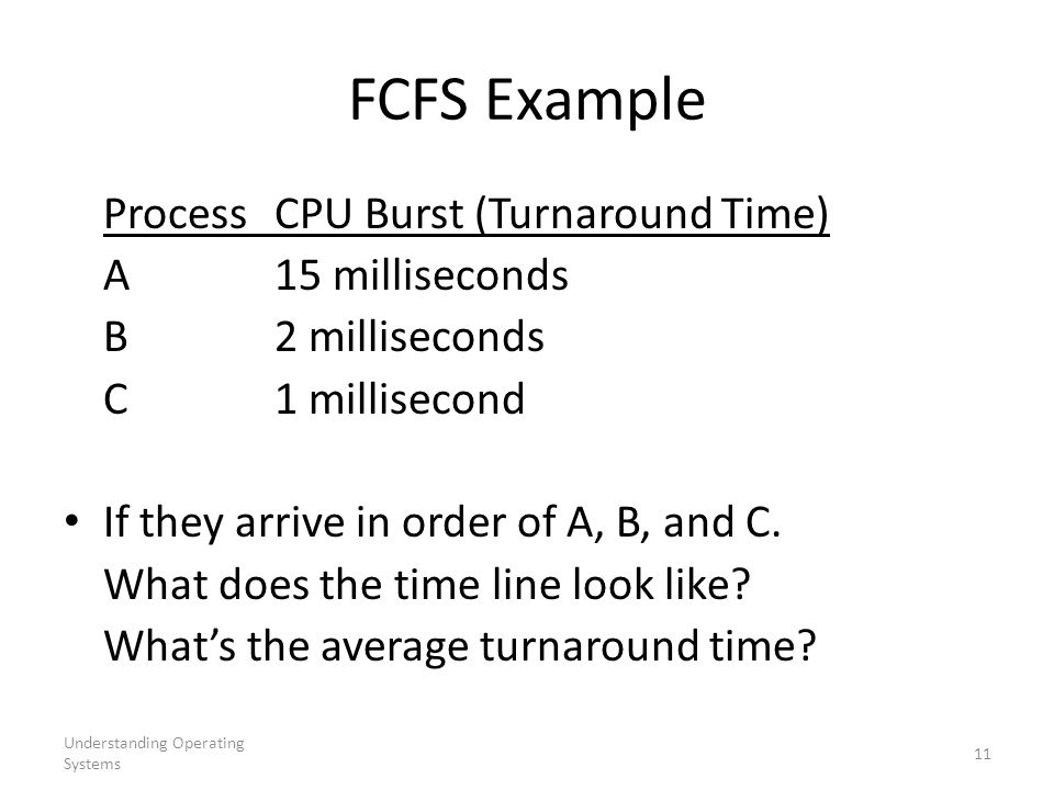 FCFS Example Process CPU Burst (Turnaround Time) A 15 milliseconds