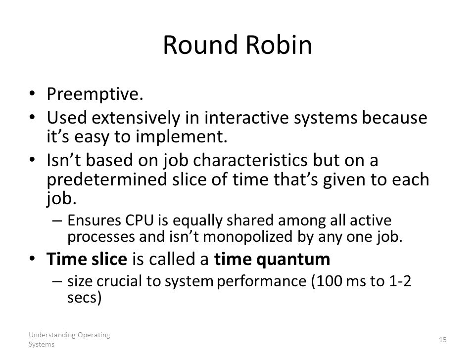 Round Robin Preemptive.