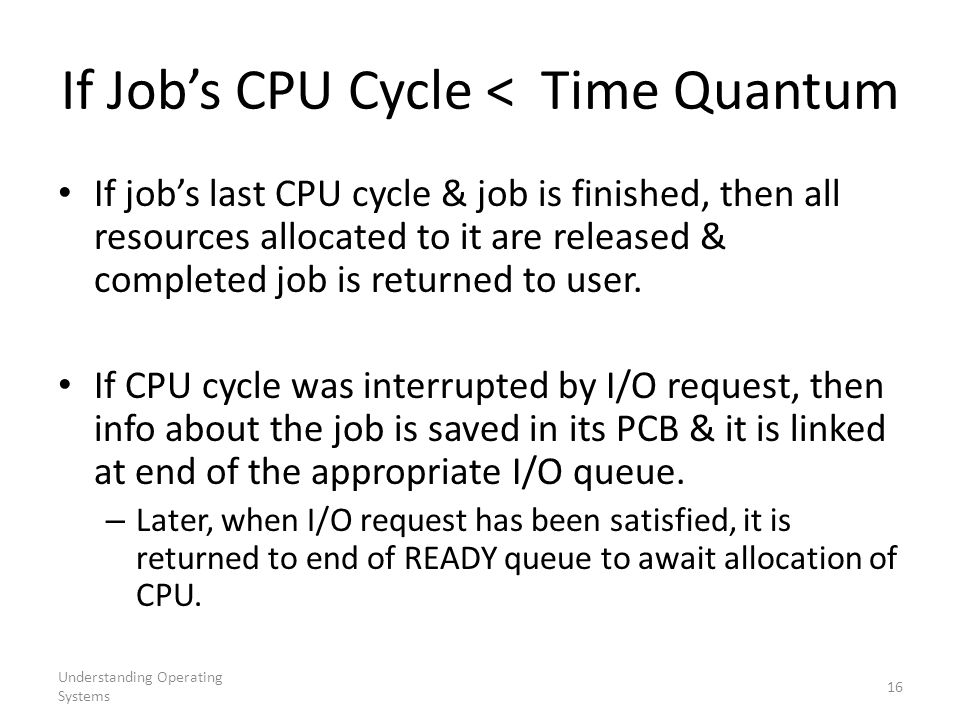 If Job's CPU Cycle < Time Quantum