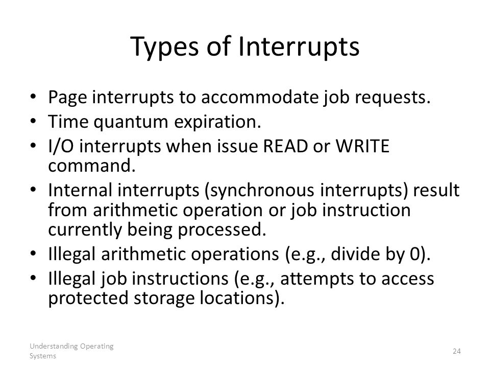 Types of Interrupts Page interrupts to accommodate job requests.