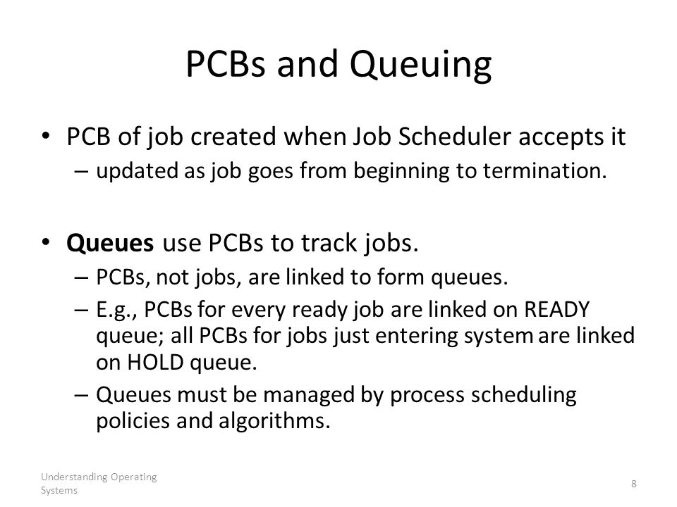 PCBs and Queuing PCB of job created when Job Scheduler accepts it