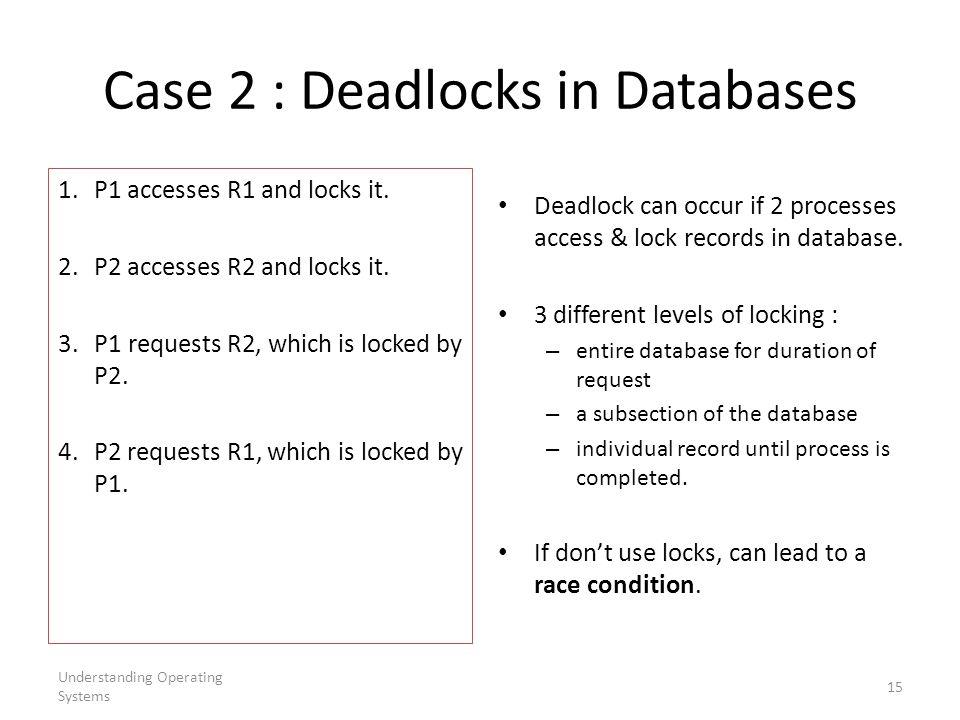 Case 2 : Deadlocks in Databases